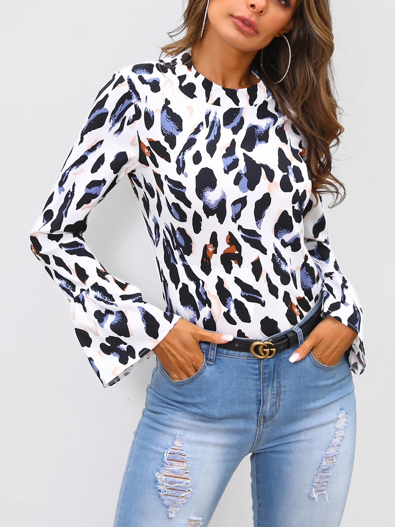 Long Bell Sleeve Leopard Print Blouse