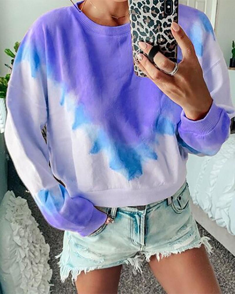 Tie Dye Print Long Sleeve Casual Sweatshirt фото