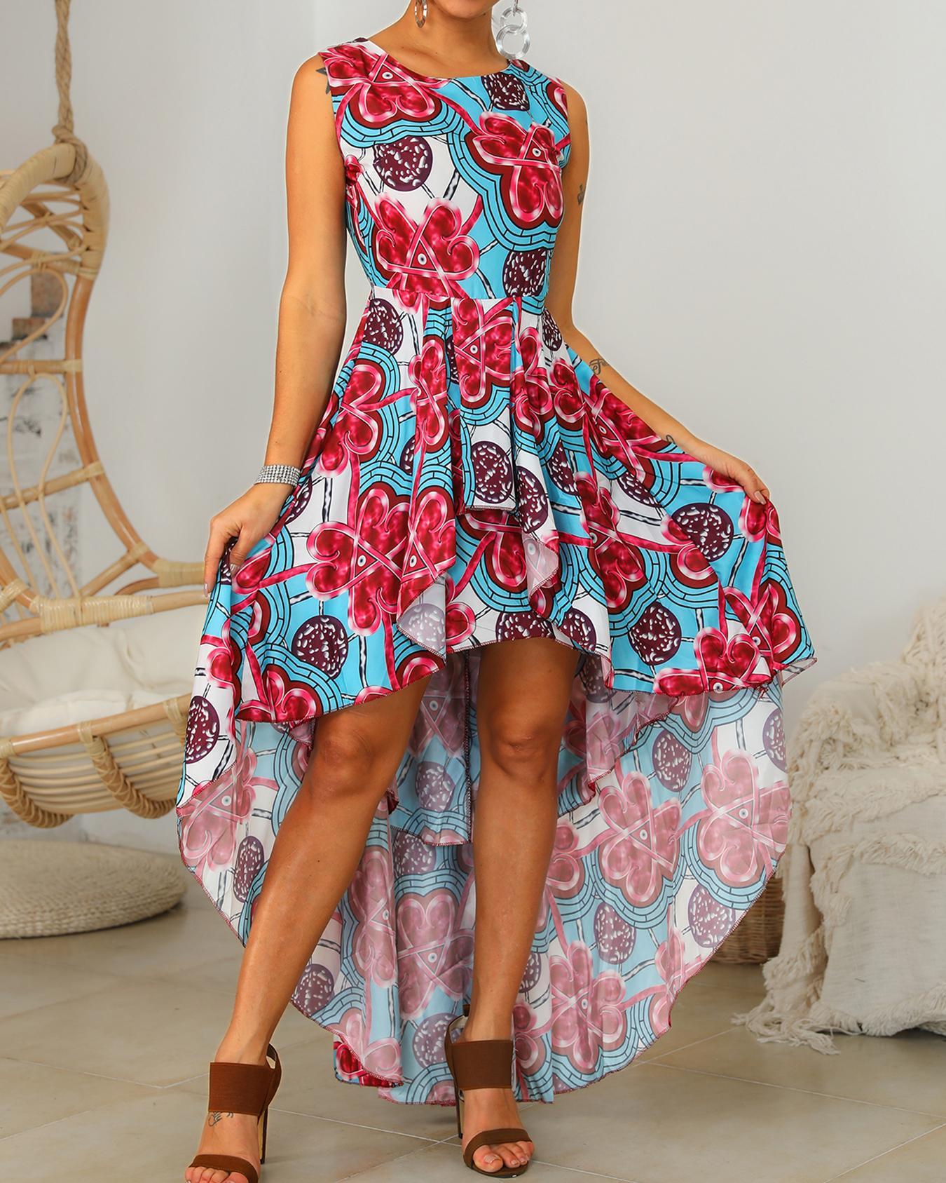 ivrose / Vestido estampado floral con dobladillo y dobladillo