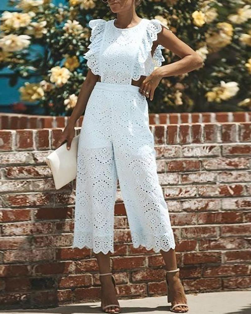 Eyelet Embroidery Ruffles Jumpsuit фото