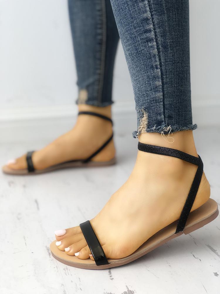 Solid Open Toe Single Strap Flat Sandals