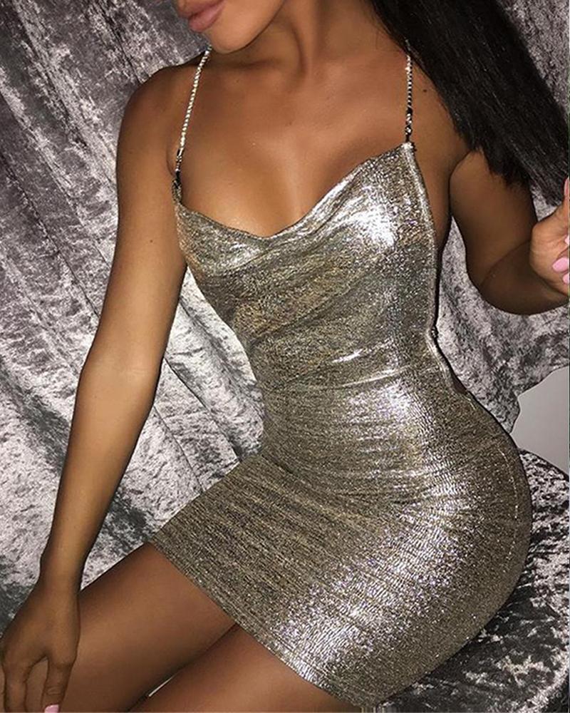 Sequined Bodycon Strappy Mini Dress фото