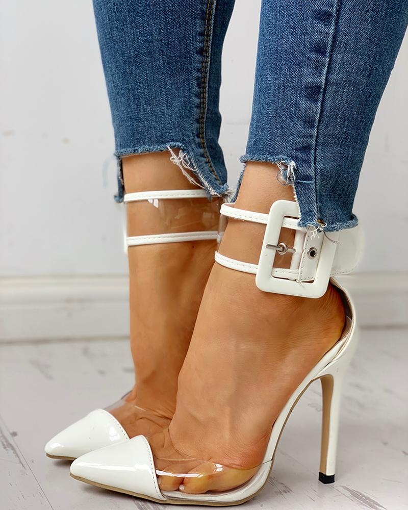 Pointed Toe Transparent Ankle Buckled Thin Heels