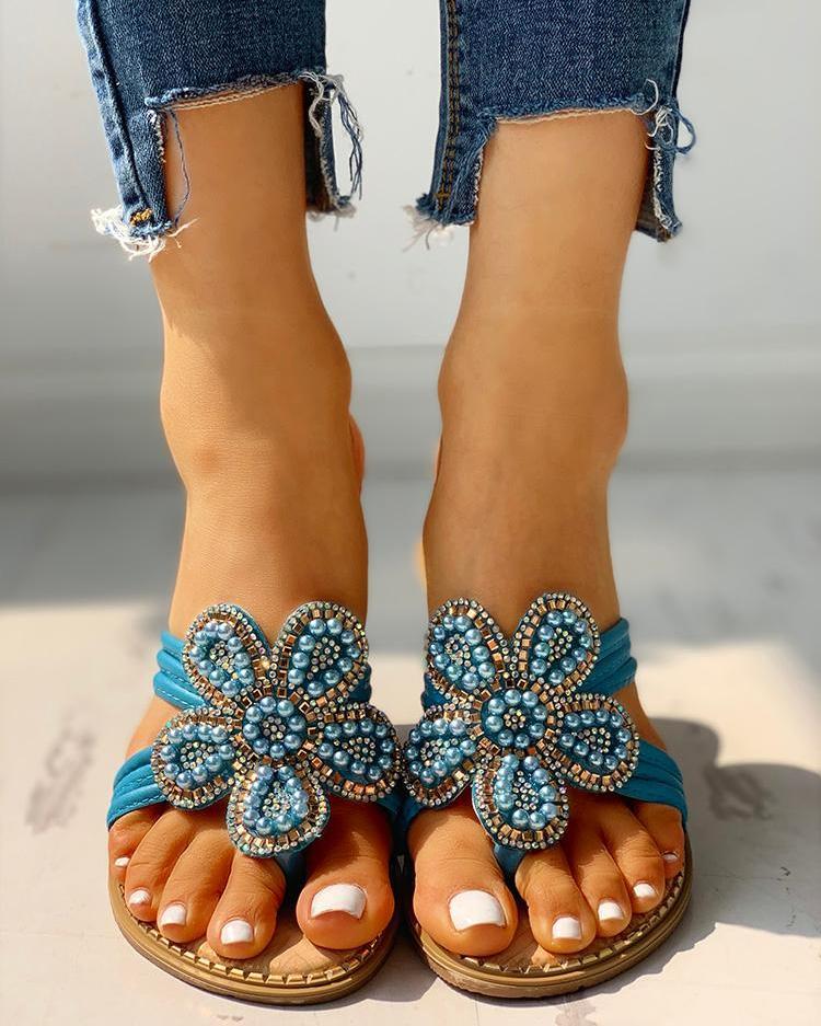 Flower Pattern Beaded Design Toe Post Sandals фото