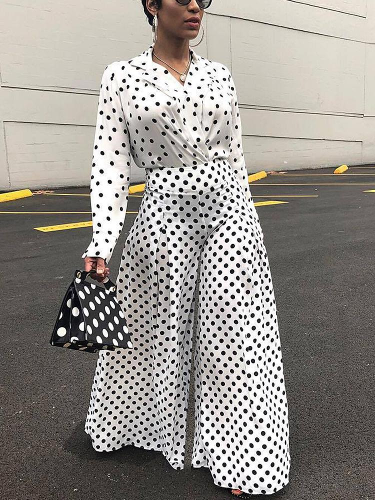 Polka Dot Blouse & Wide Leg Pants Sets