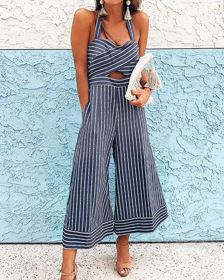 Pinstriped Halter Cross Over Wide Leg Jumpsuit фото