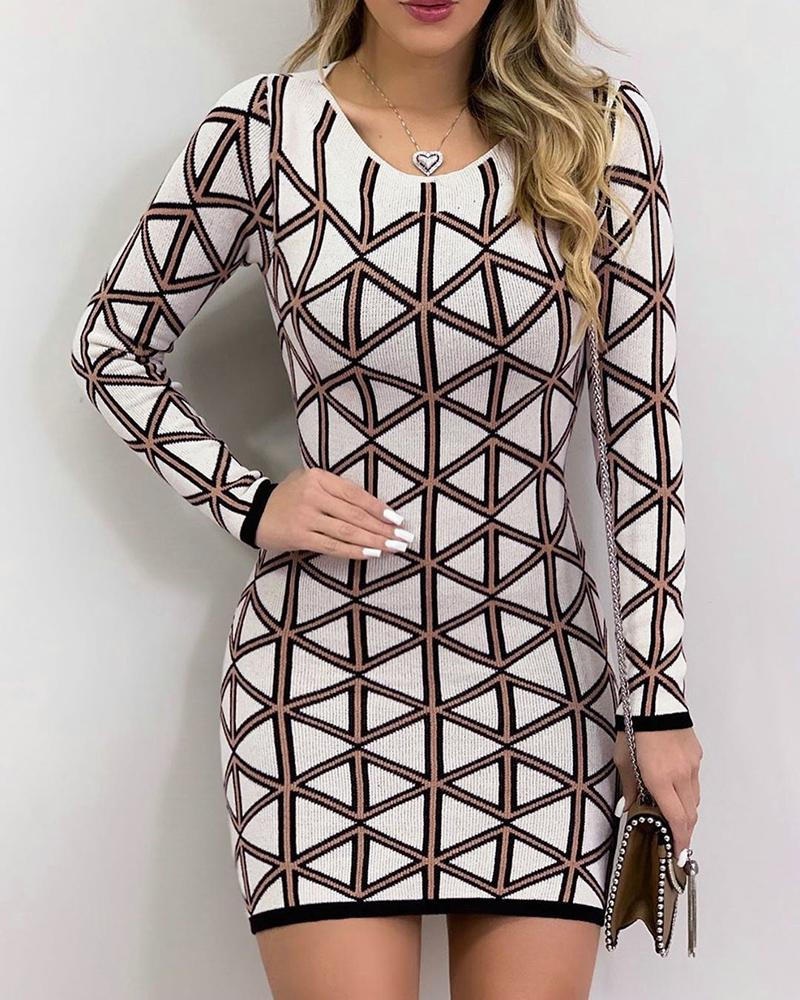 Geo Print Long Sleeve Bodycon Dress фото