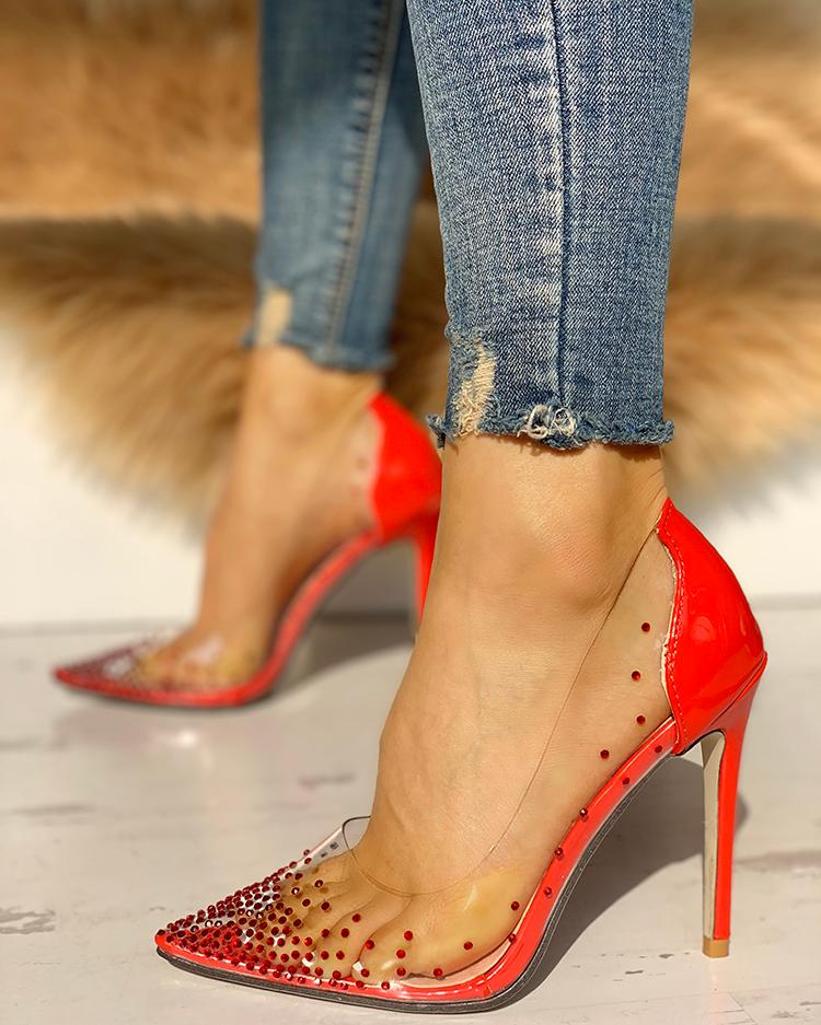 Rhinestone Embellished Transparent Thin Heels, Red