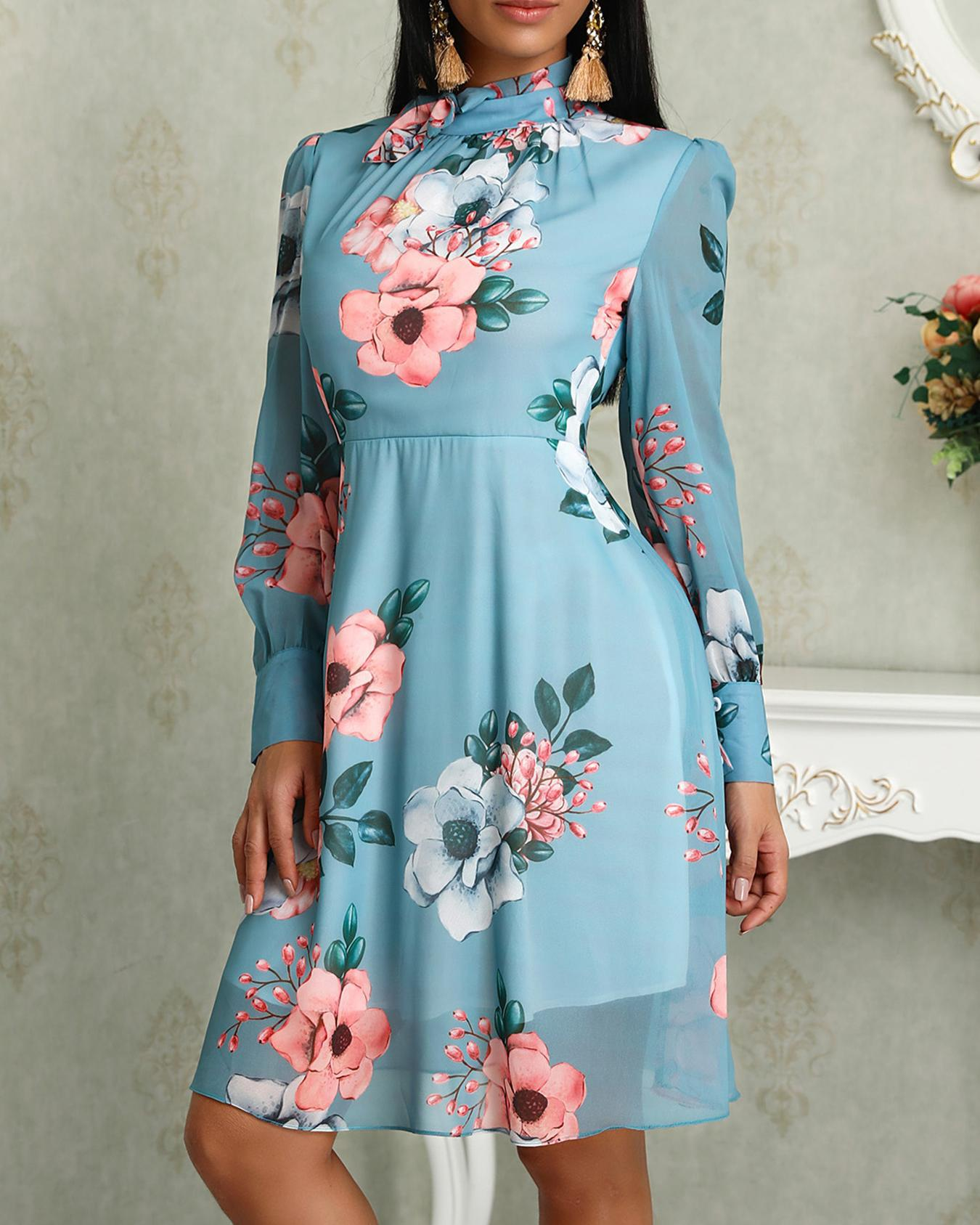 Floral Print Long Sleeve Tied Neck Dress фото