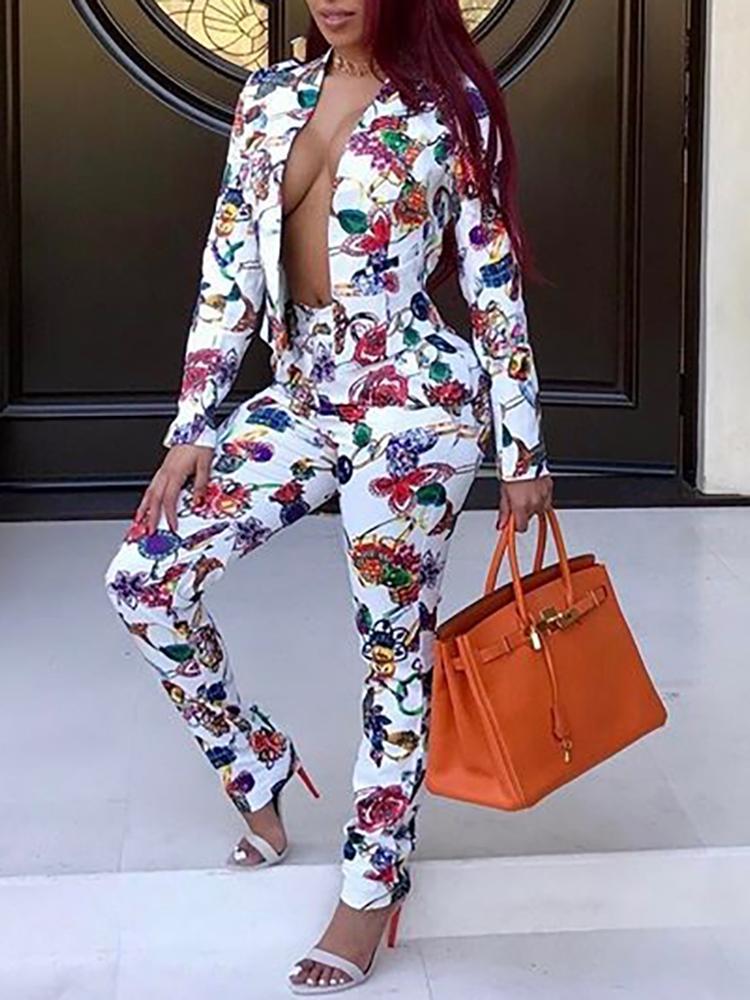 Floral Print Open Front Blazer Suit Set фото