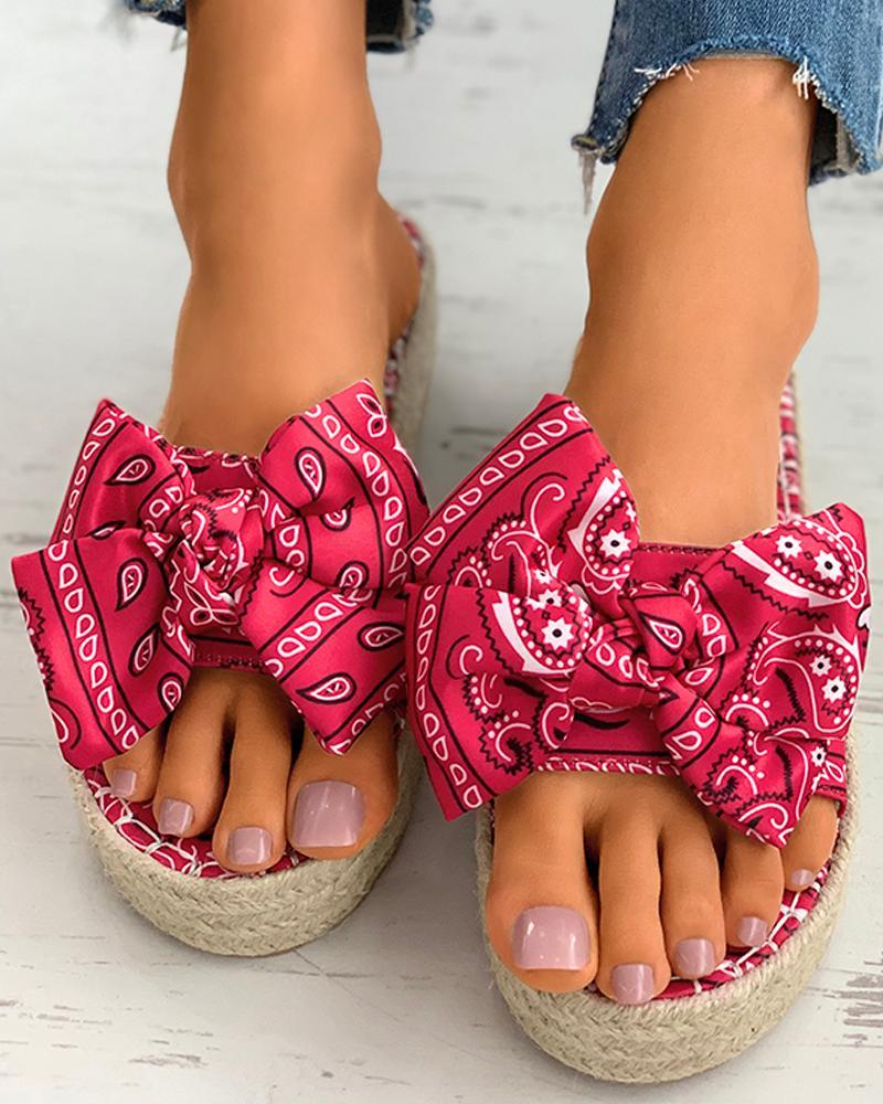 Print Bowknot Espadrille Platform Sandals фото
