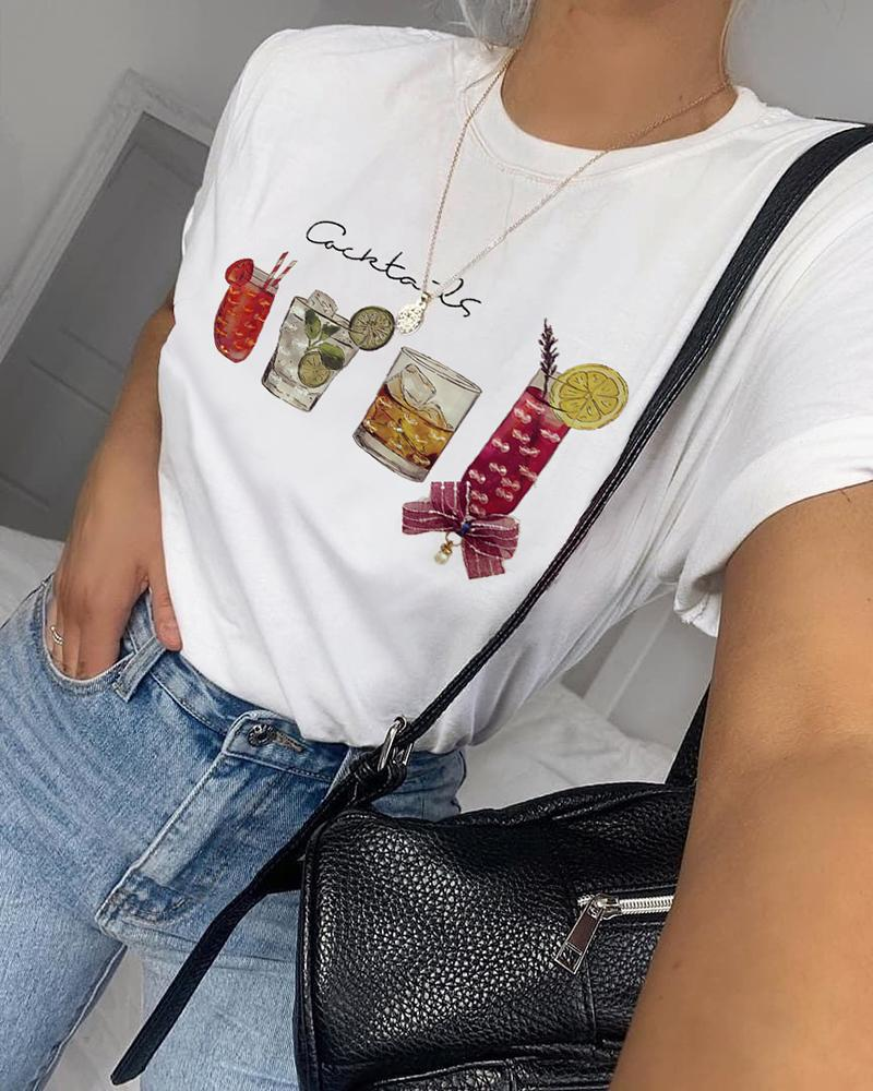 Studded Round Neck Casual T-shirt фото