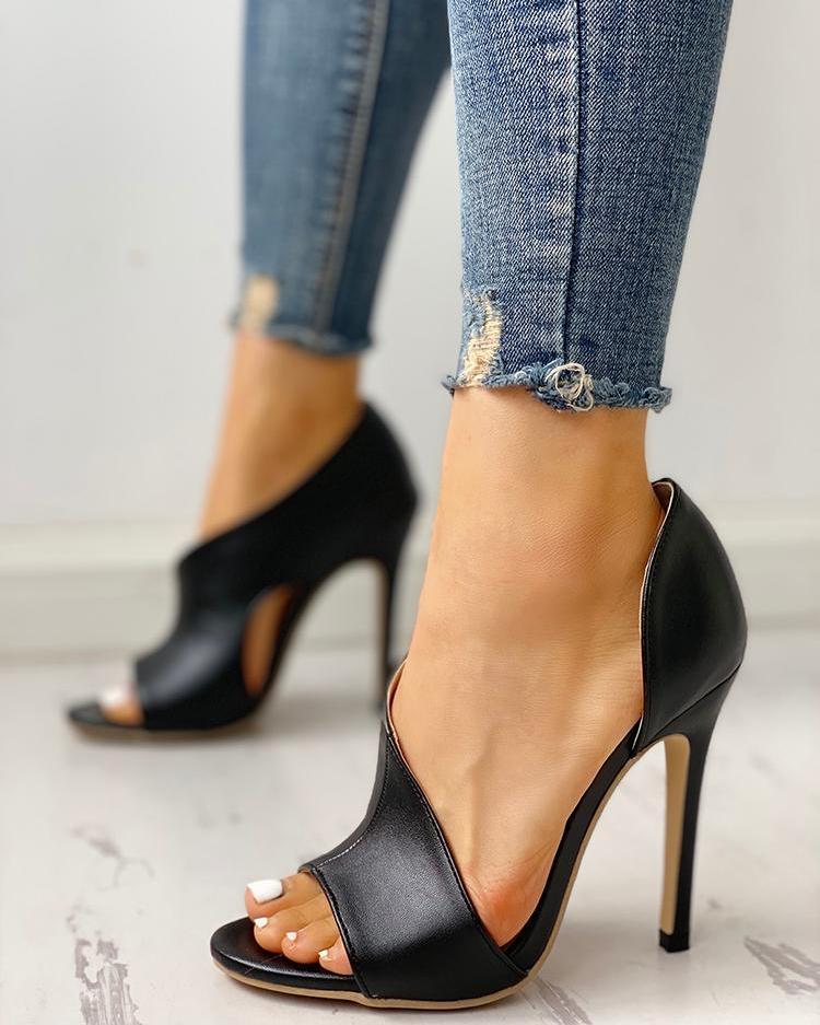 chicme / PU Cutout Peep Toe Thin Heeled Sandals