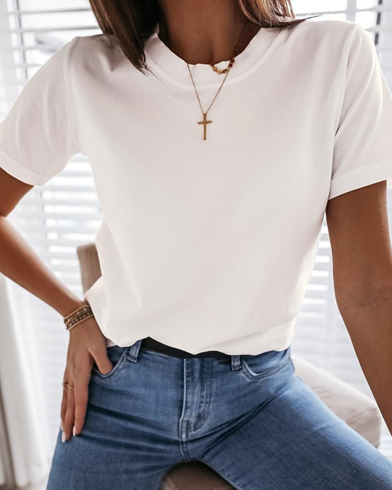 Solid Short Sleeve Casual T-shirt фото