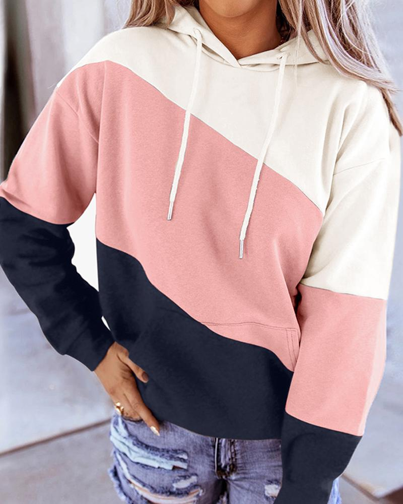 Tie Dye Print Colorblock Casual Hooded Top фото