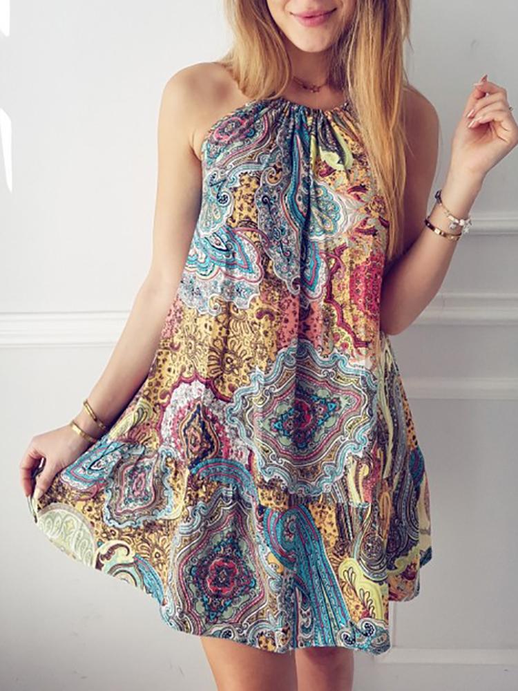 Boho Style Halter Printed Shirring Ruched Mini Dress