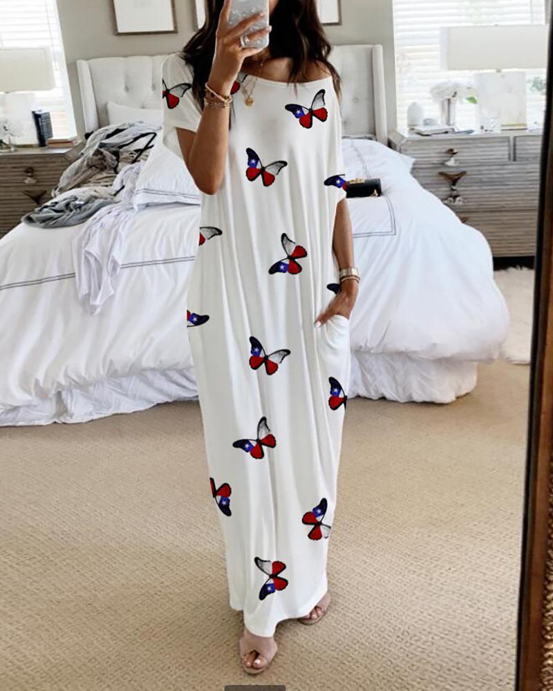 ivrose / Vestido informal de manga corta con estampado de mariposas