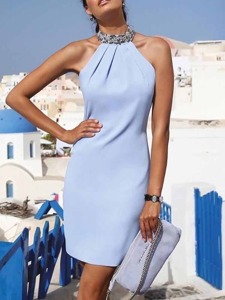 ivrose / Halter Shiny Embellished Neck Ruched Mini Dress