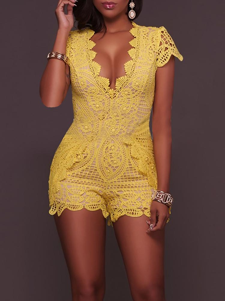 Cap Sleeve Lace Crochet V Neck Wrap Romper Shorts Leotard