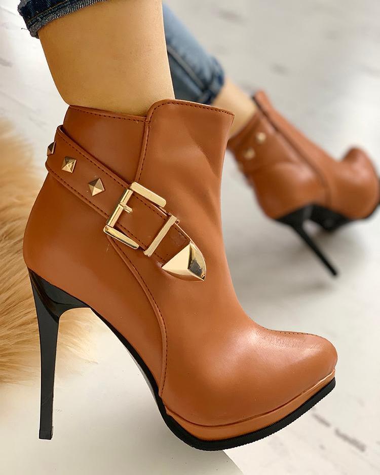 Metallic Buckle Platform Thin Heeled Boots