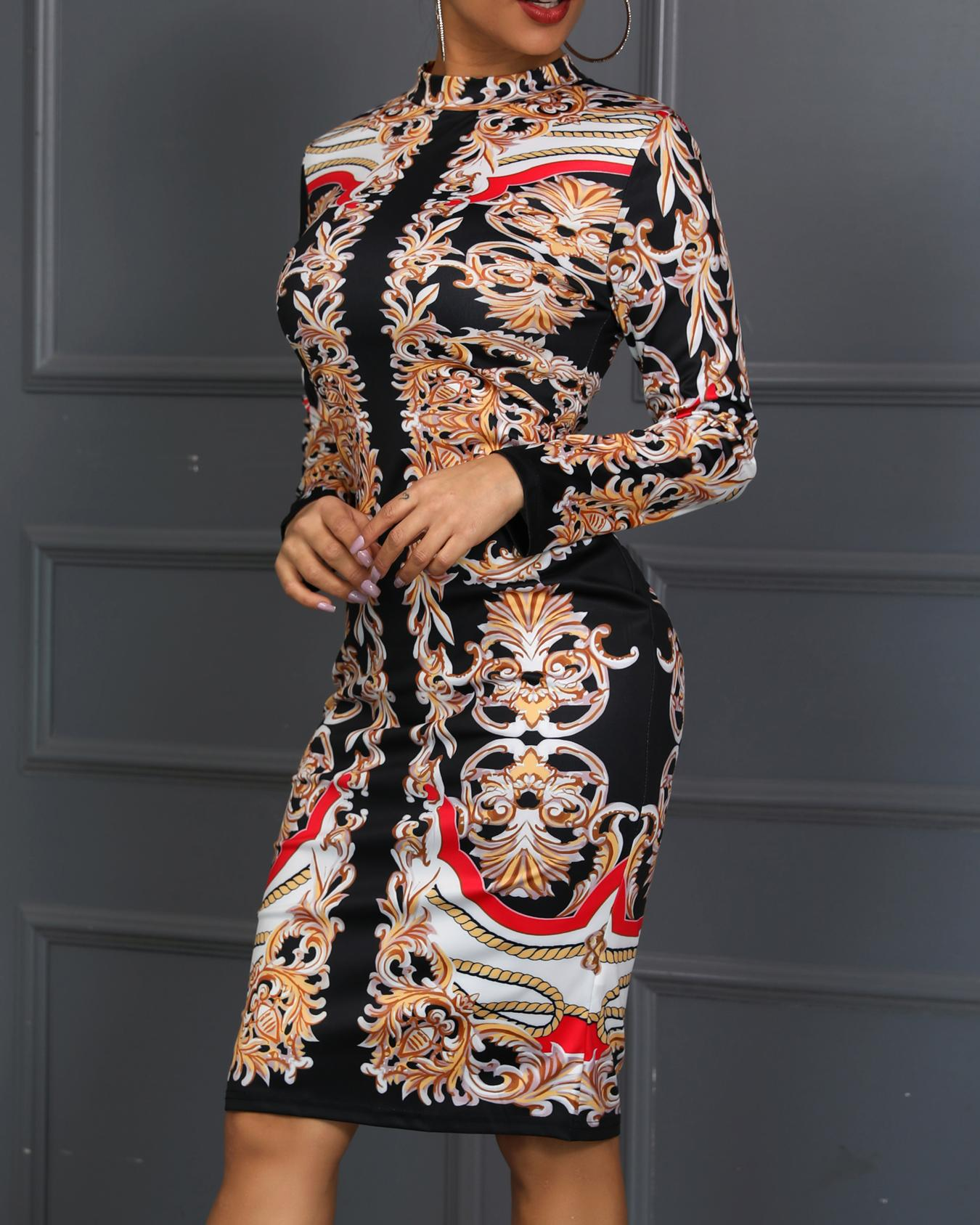 Print Insert Long Sleeve Bodycon Dress фото