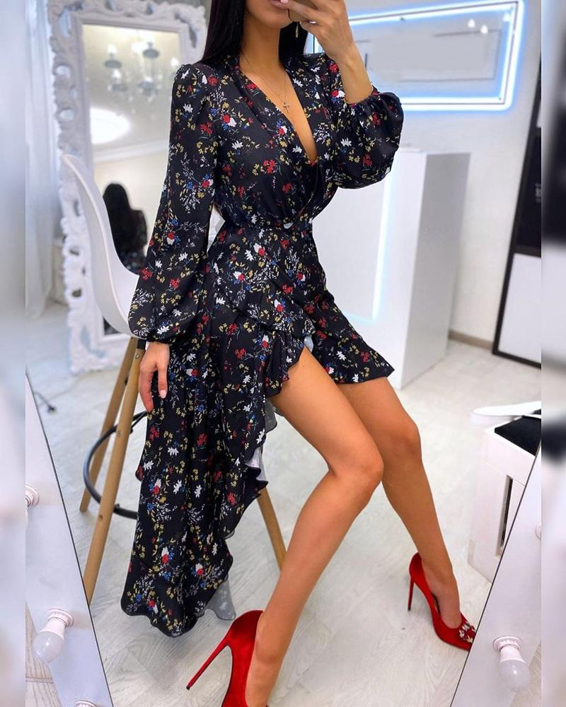 ivrose / V Neck Floral Imprimir Ruffles Dip Hem Wrap Dress