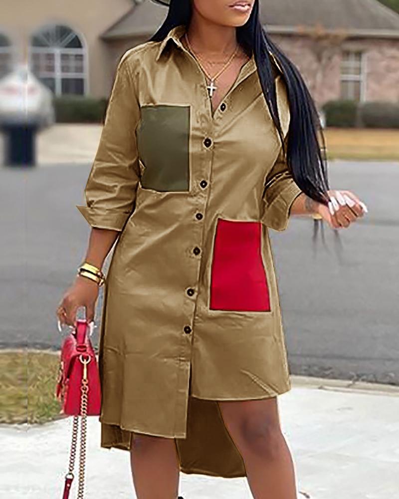 Colorblock Irregular Hem Shirt Dress фото
