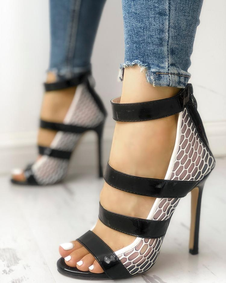 422f0516c055 Multi-Strap Hollow out Thin Heeled Sandals