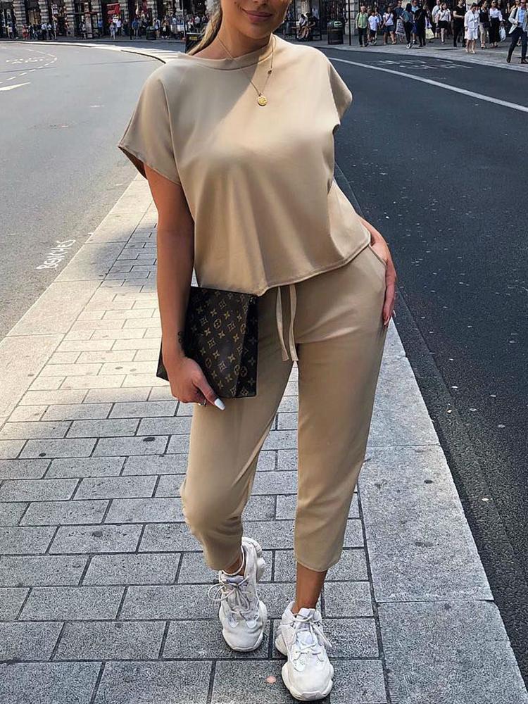 chicme / Solid Short Sleeve T-Shirt & Drawstring Pants Sets