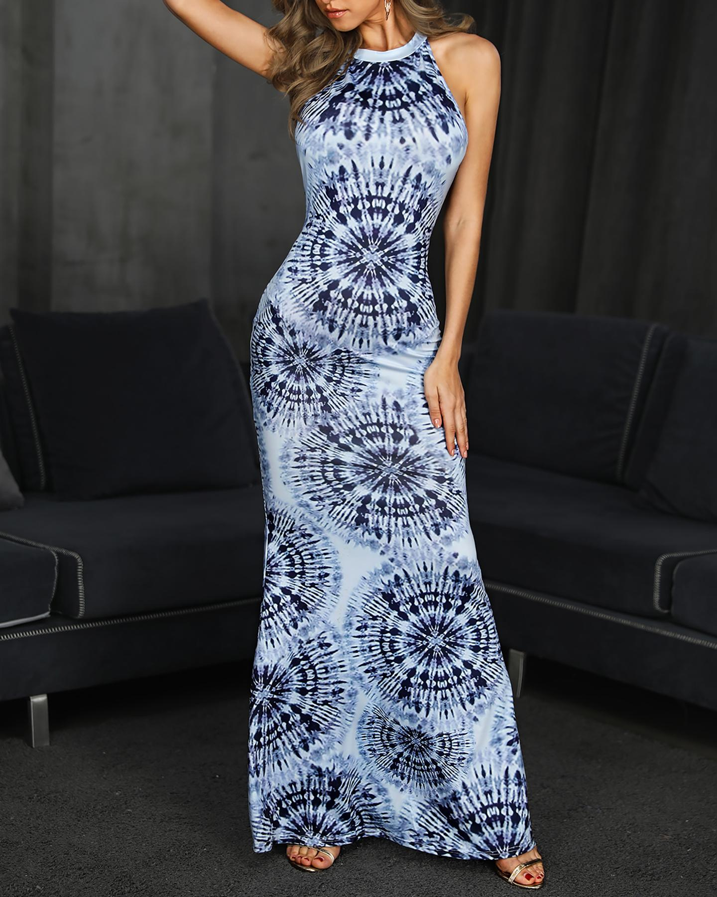 Exotic Digital Print Cutout Back Maxi Dress