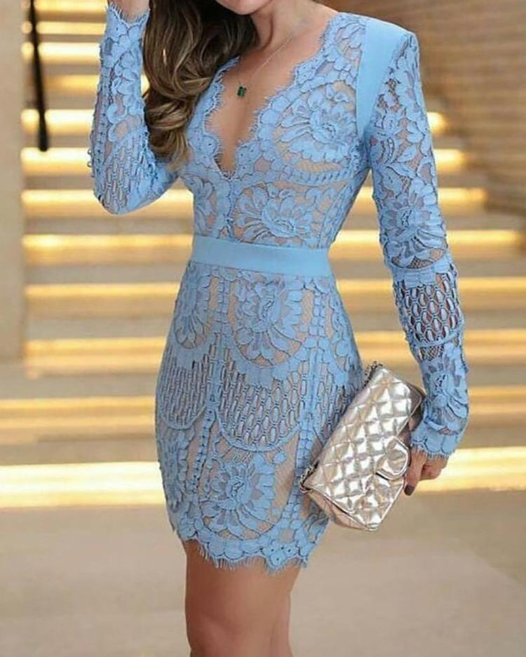 Eyelash Lace Overlay Plunge Neck Bodycon Dress