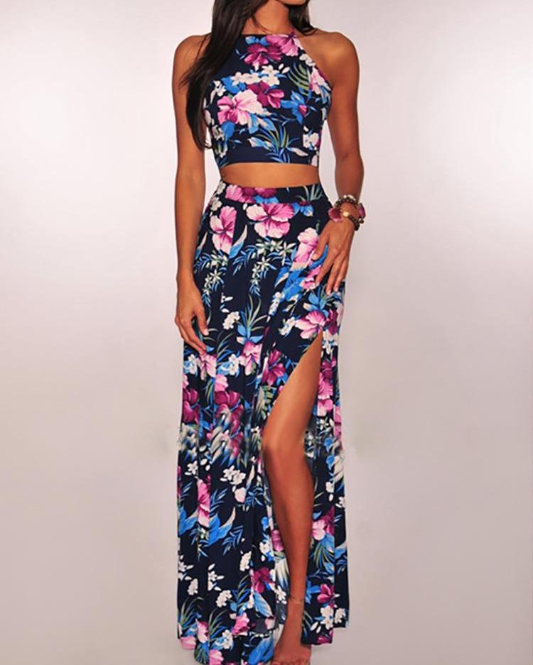Floral Print Halter Caim Top & Thigh Slit Skirt, Blue