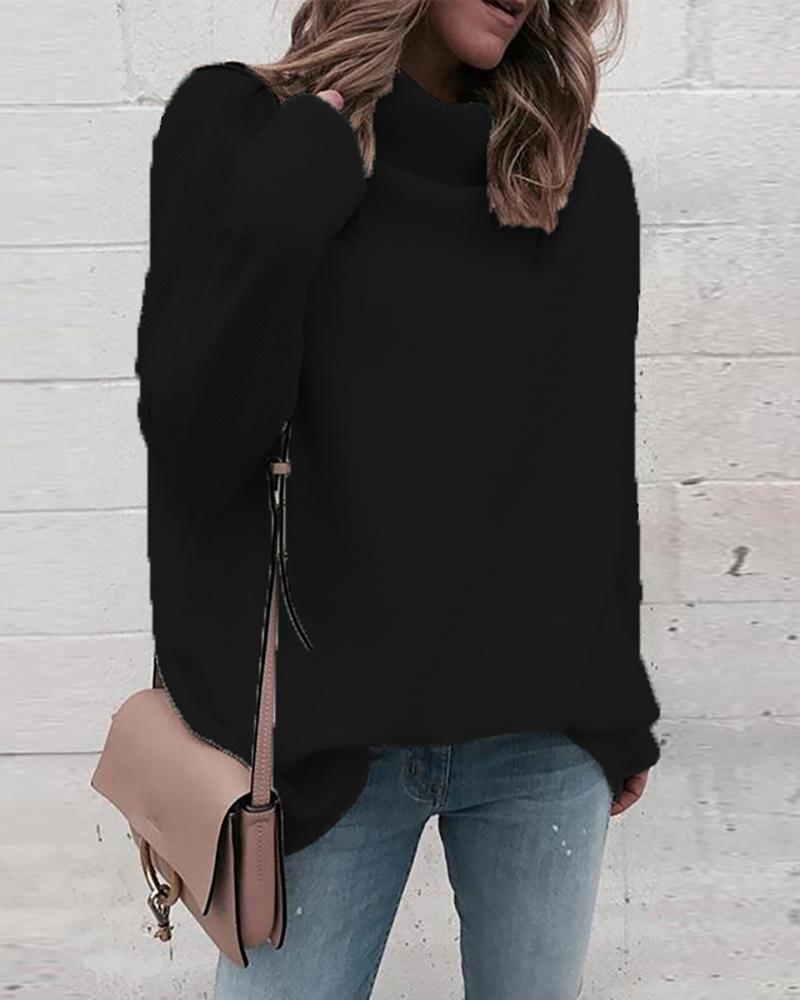 Solid Long Sleeve High Neck Sweater фото
