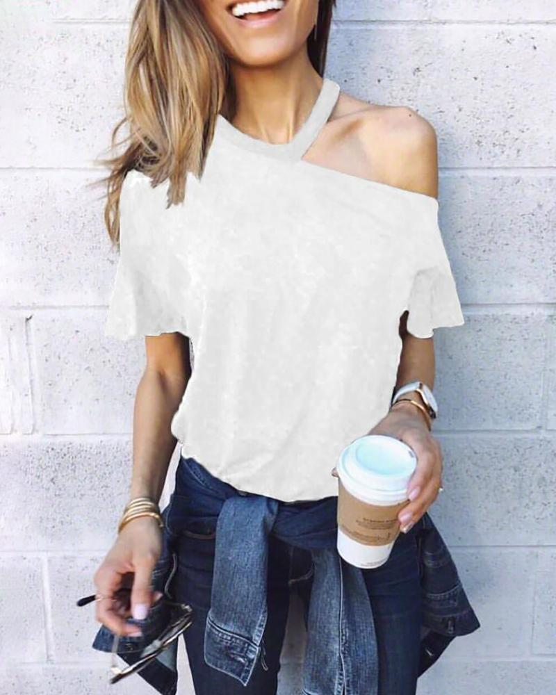 Halter Neck Cold Shoulder T-shirt, White