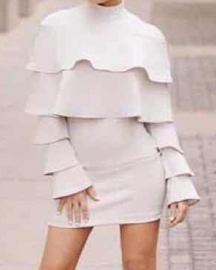 ivrose / Solid Frills Layered Bodycon Mini Dress
