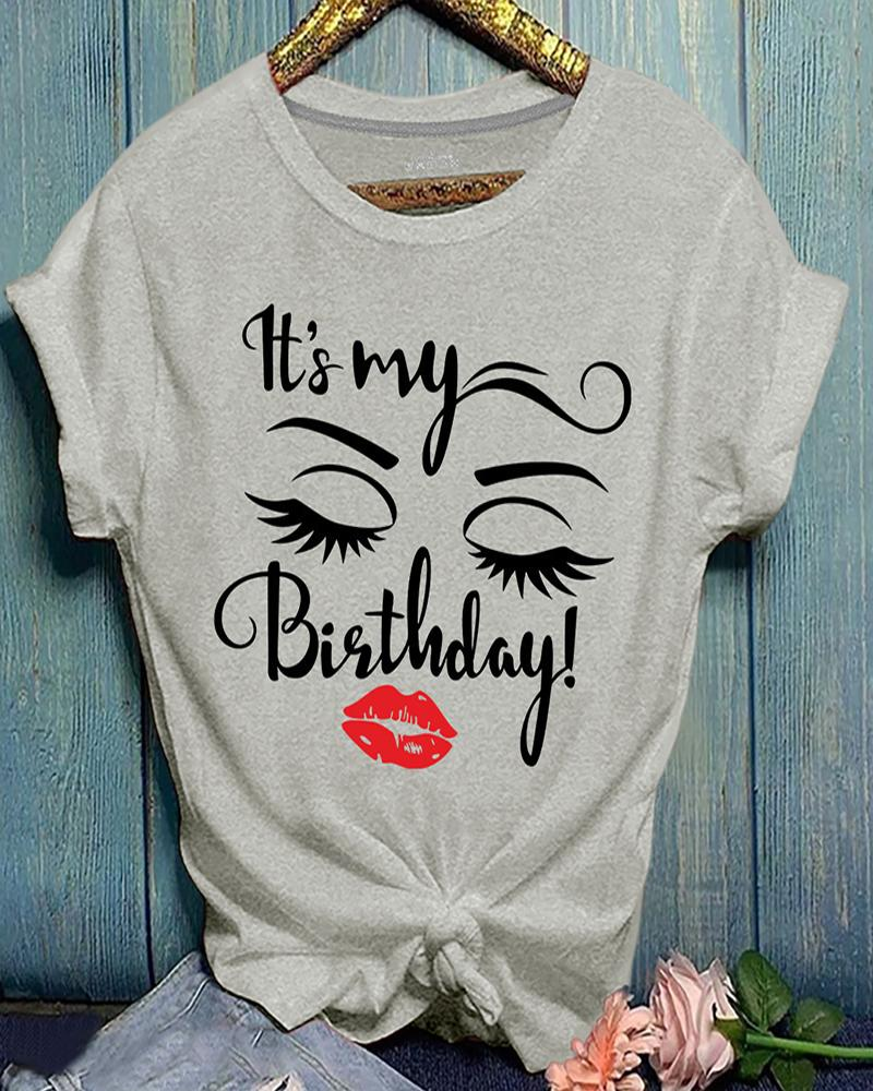 Letter / Lip / Eyelash Print Casual T-shirt фото