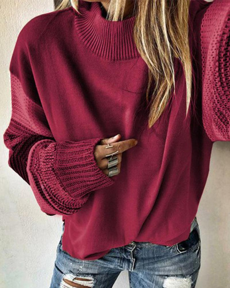 Colorblock Patchwork Design Casual Sweater фото