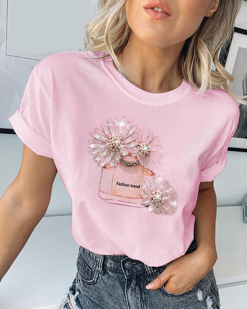 Print Studded Beaded Casual T-shirt фото