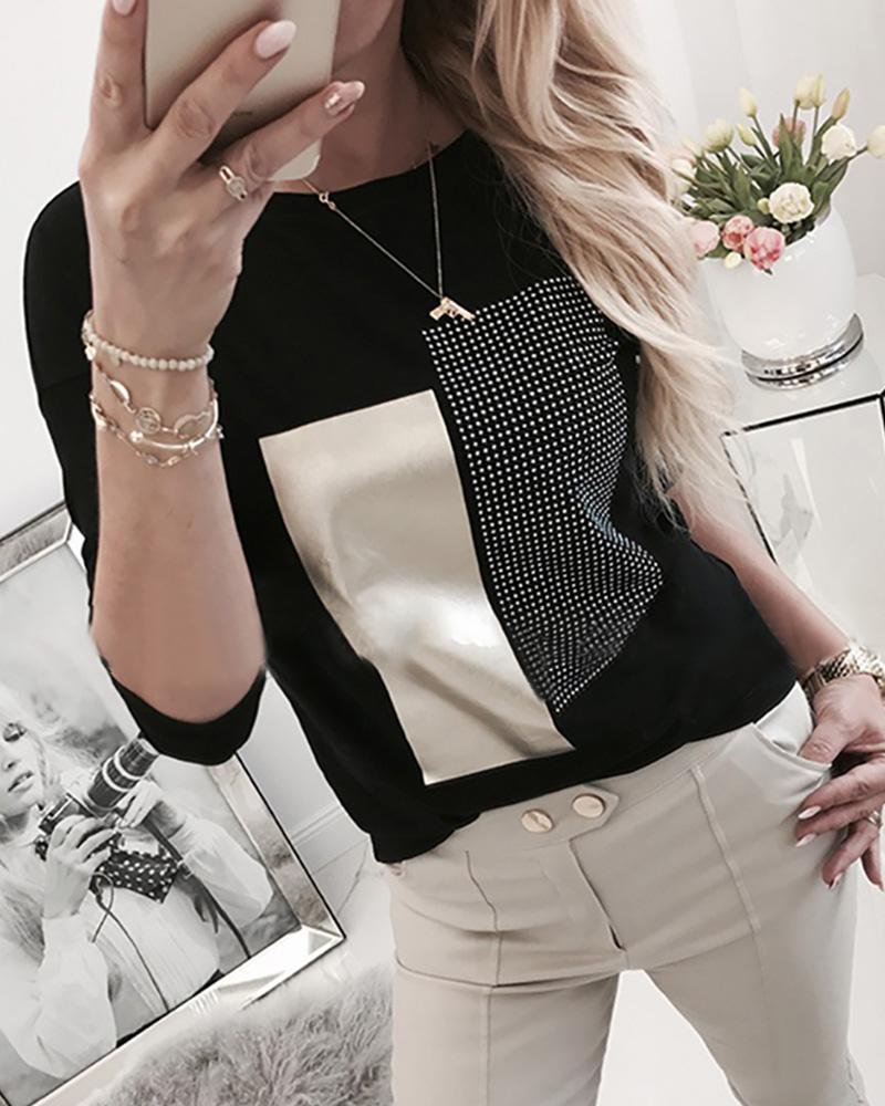 Hot Stamping Colorblock Round Neck Long Sleeve T-shirt фото