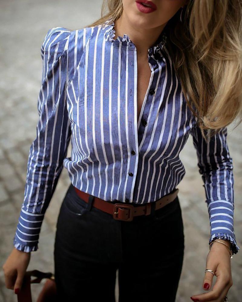 chicme / Blusa casual con dobladillo de volantes y manga hinchada a rayas