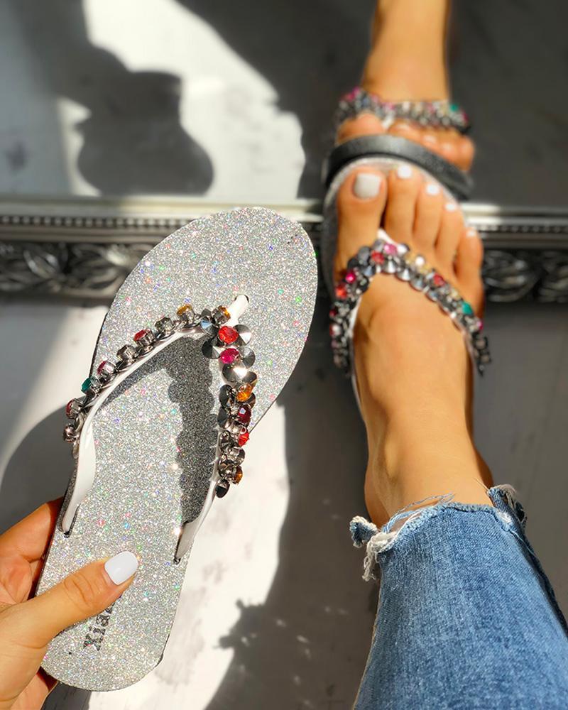 Studded Toe Post Flat Slipper Sandals фото