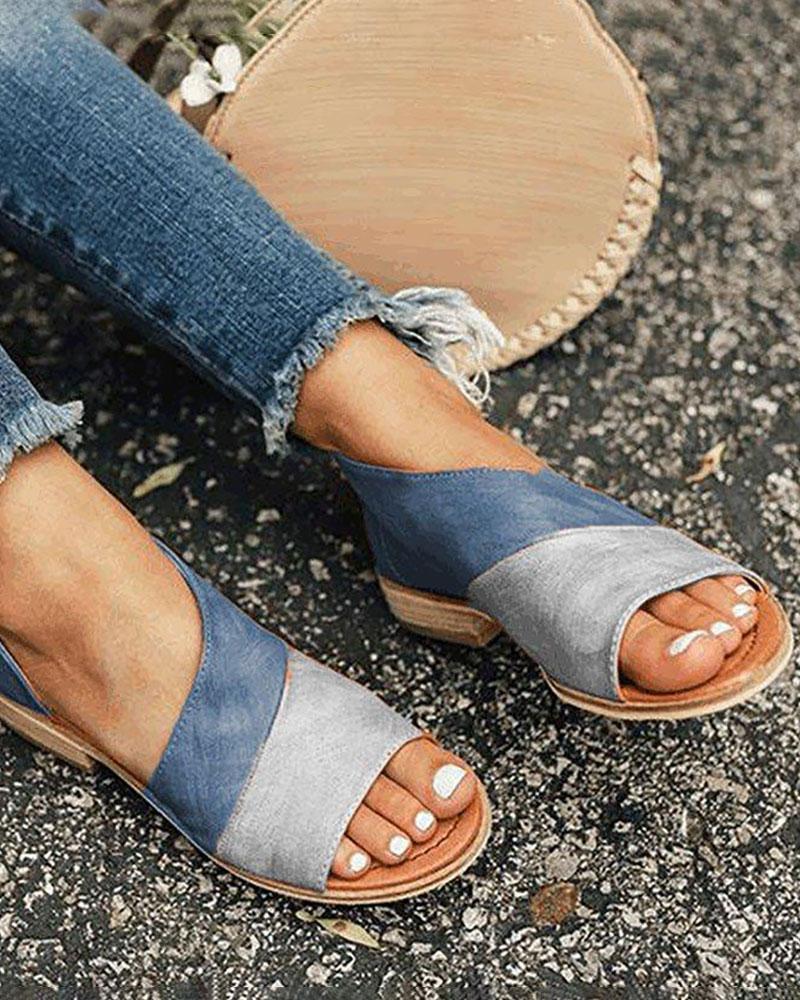 Open Toe Colorblock Insert Cutout Sandals