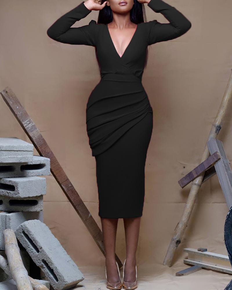 ivrose / Vestido de trabajo con pliegues y pliegues sólidos