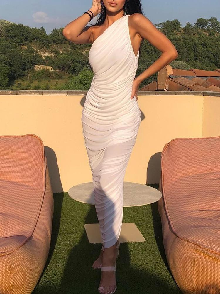 Solid One Shoulder Ruched Bodycon Dress
