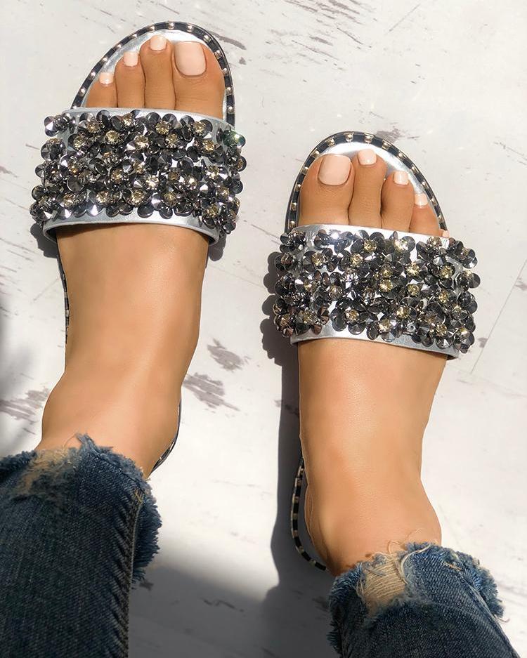boutiquefeel / Lantejoulas brilhantes Peep Toe sandálias antiderrapantes