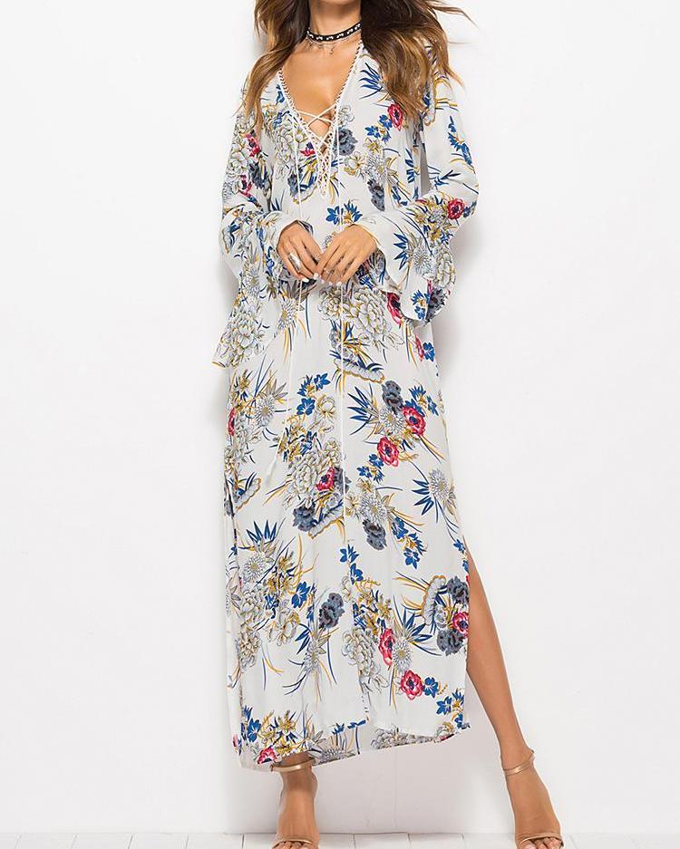 Lace-Up Side Slit Floral Print Maxi Dress