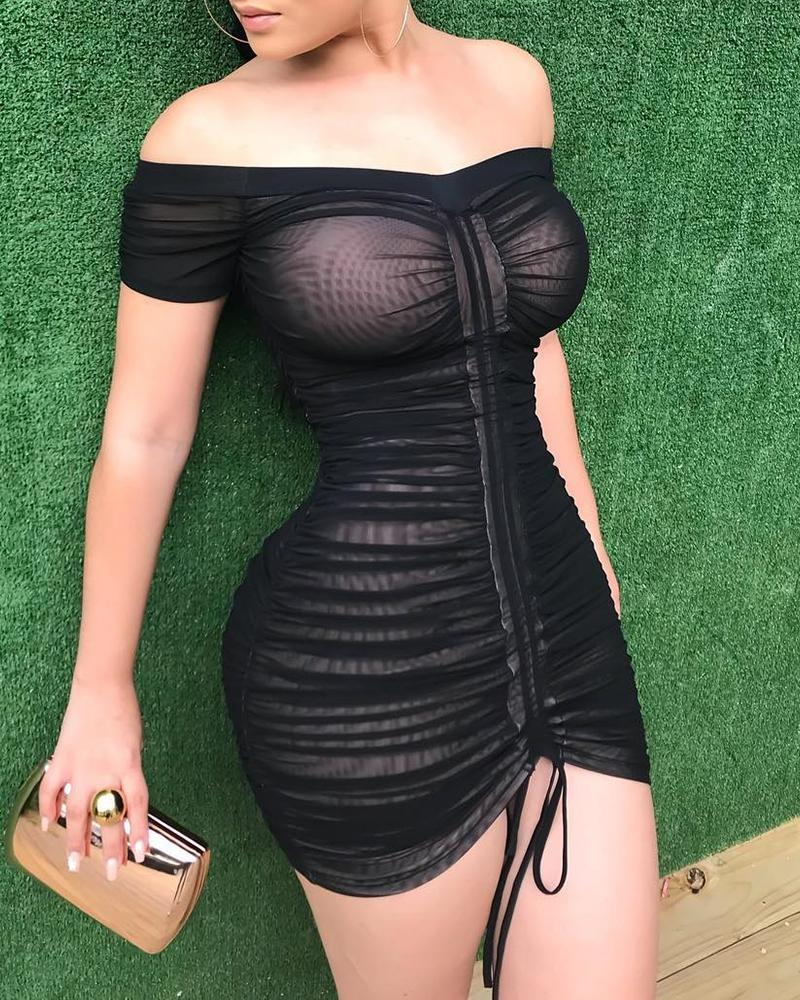 chicme / Off Shoulder Ruched Drawstring Bodycon Dress