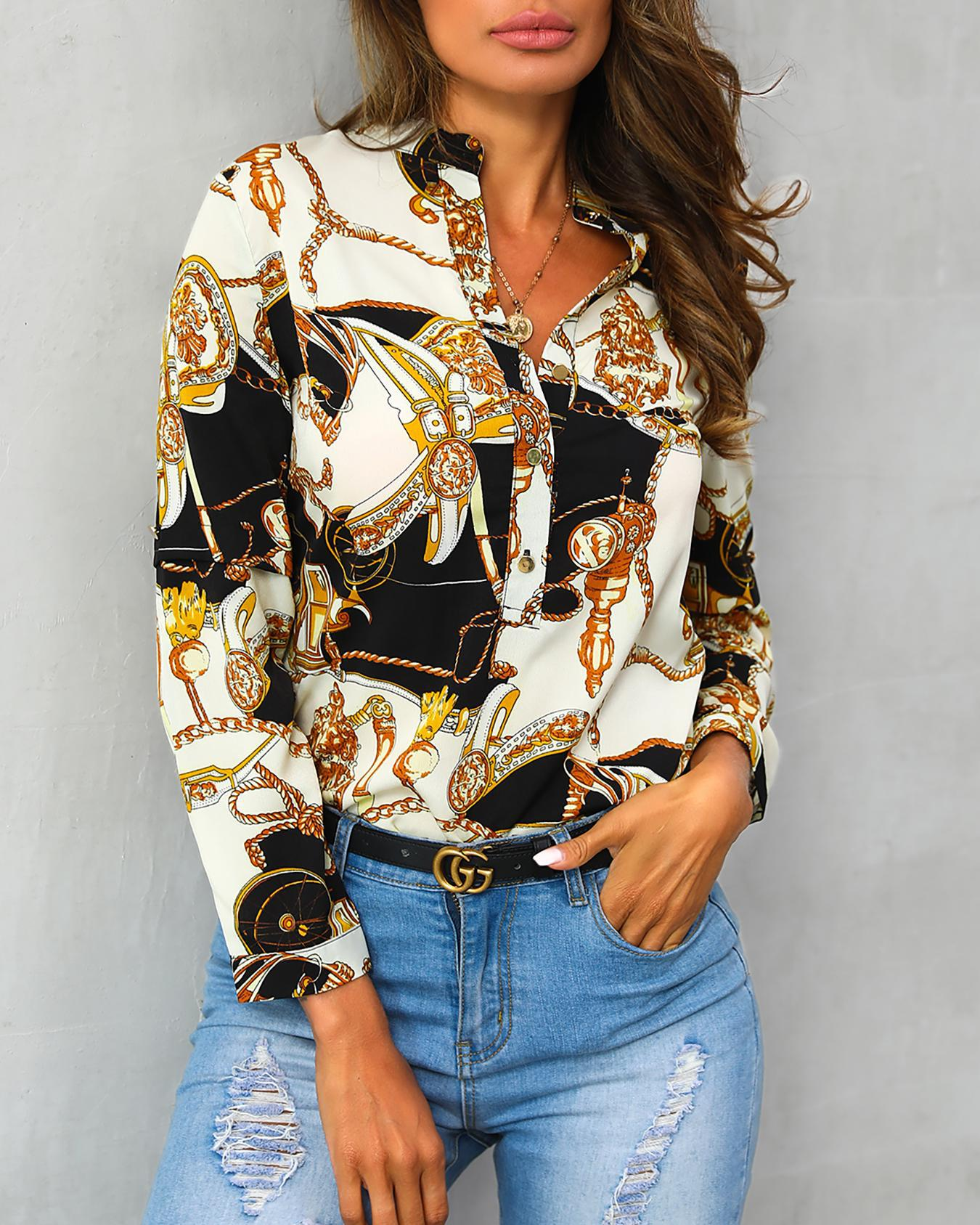 joyshoetique / Scarf Print Button Detail Long Sleeve Blouse