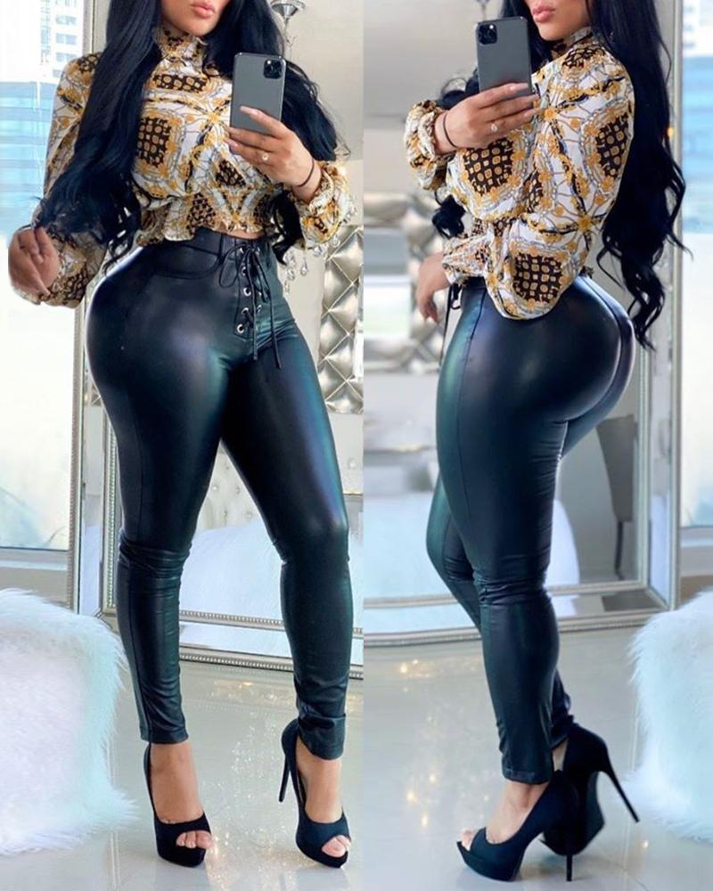 ivrose / Pantalón de cintura alta de piel sintética