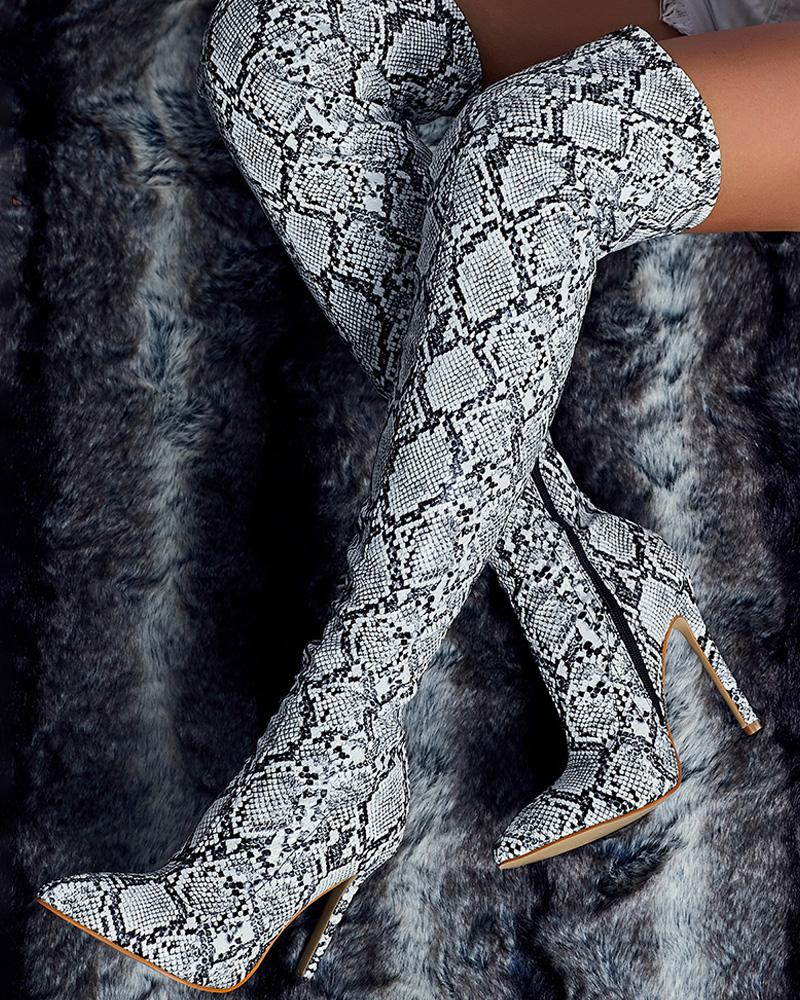 Point Toe Snakeskin Stiletto Thigh High Boots